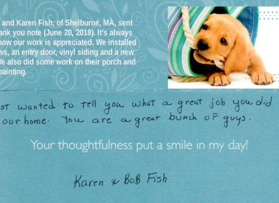 Thank you Robert and Karen for the kind note!